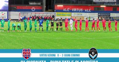 8 Verona V Giana Erminio 0-3 risultati e classifica 8 giornata serie C girone B