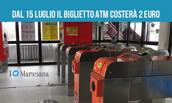 Biglietto Atm costerà 2 euro